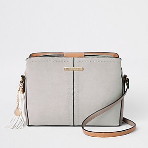 Grey triple compartment bucket cross body bag