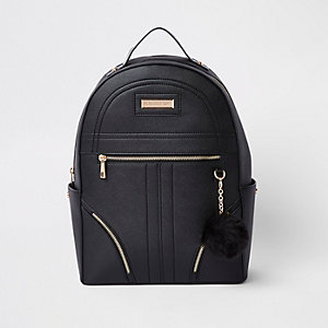 Black pom pom zip front backpack