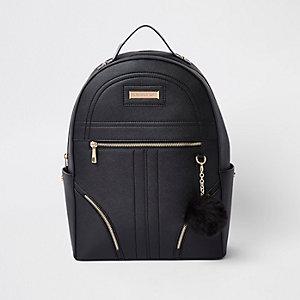 Black pom pom zip front backpack