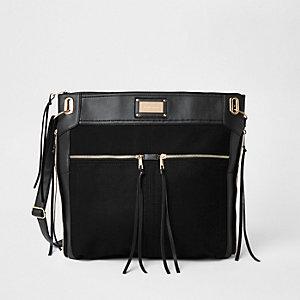 Schwarze, große Messenger-Tasche