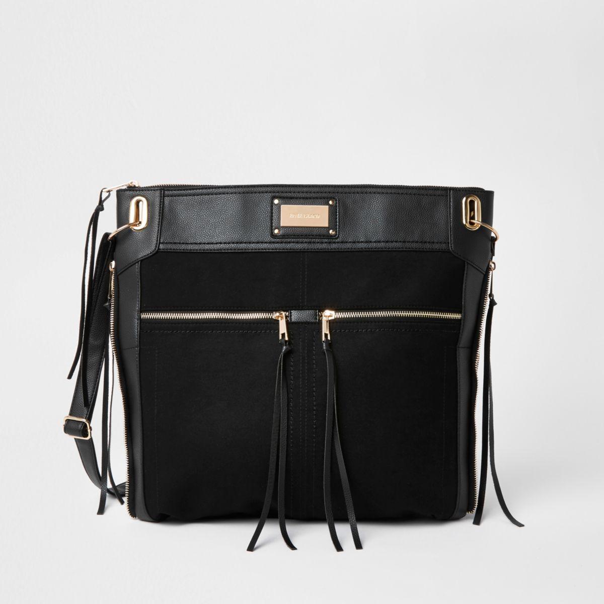 Black oversized messenger bag