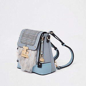 Blue check faux fur lock front backpack