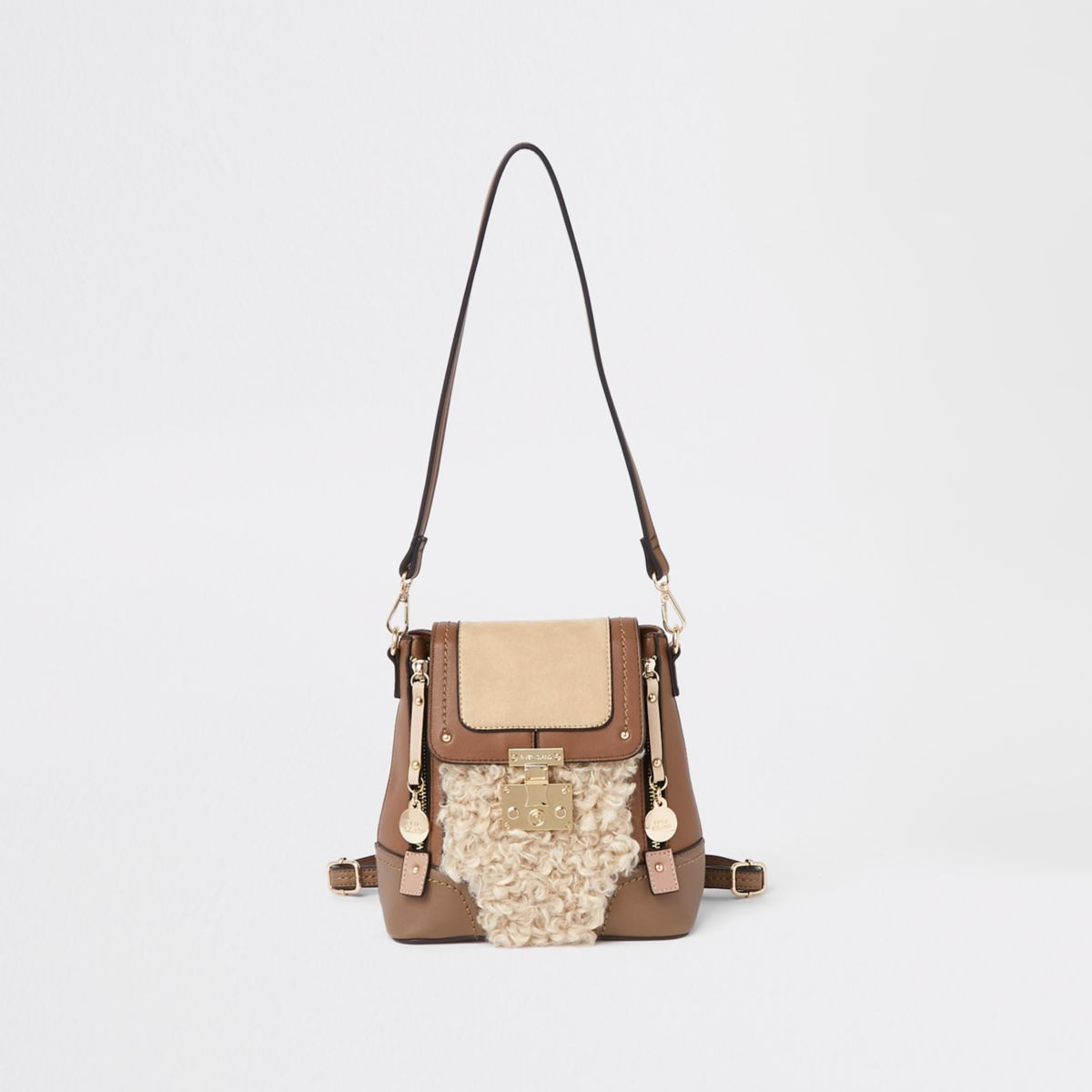 Brown faux fur lock front backpack