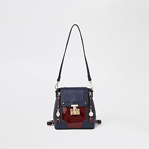 Marineblauer Mini-Rucksack aus Kunstfell