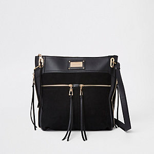 77bd1ecbd89f Black double pocket messenger bag