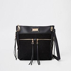 Zwarte messengertas met dubbele zak