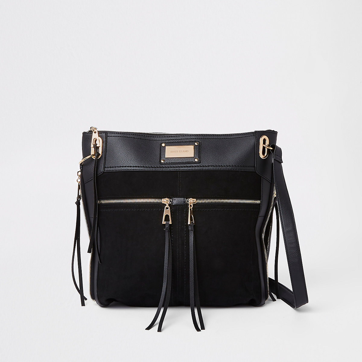 Black double pocket messenger bag