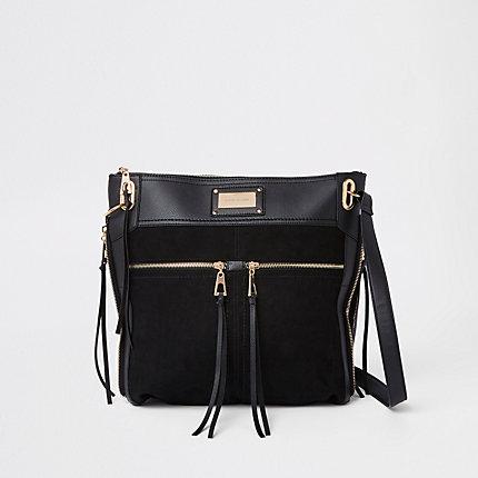 Womens Black Double Pocket Messenger Bag