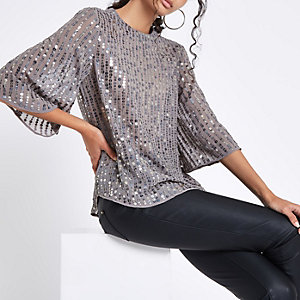 Grey sequin embellished top