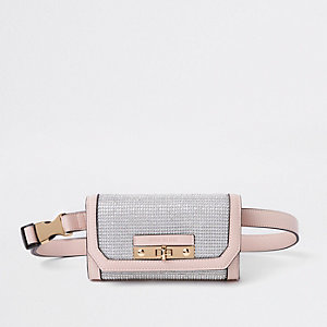 Light pink buckle belt bum bag