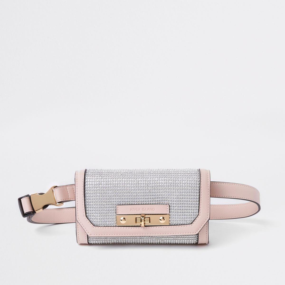 Light pink buckle belt bum bag