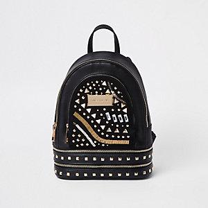 Schwarzer Mini-Rucksack aus Lederimitat