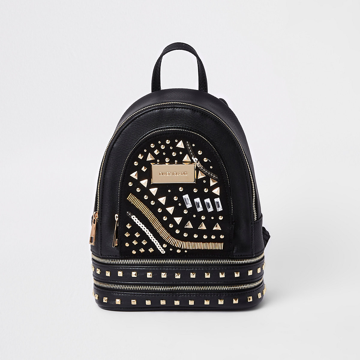 Black mini faux leather backpack