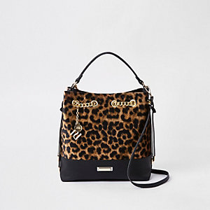 Dark brown leopard print bucket bag