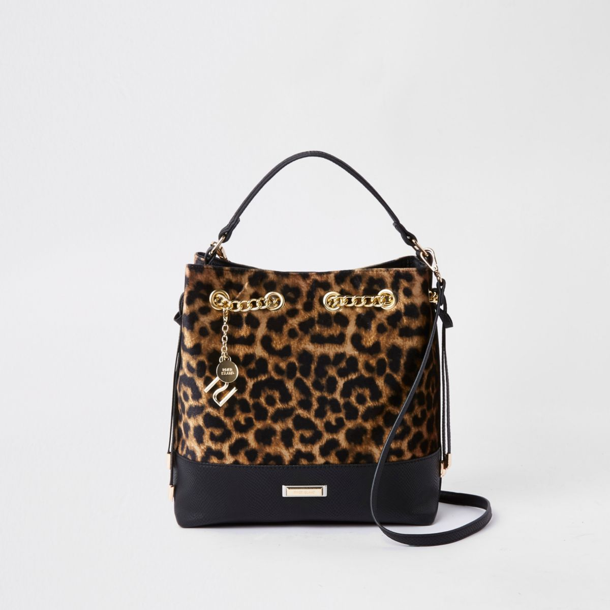 Dark brown leopard print bucket bag