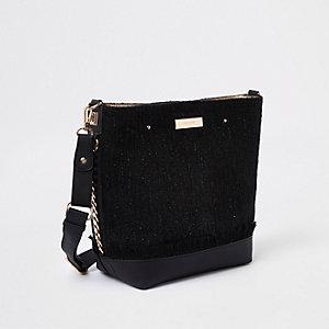 Black pouch bucket bag