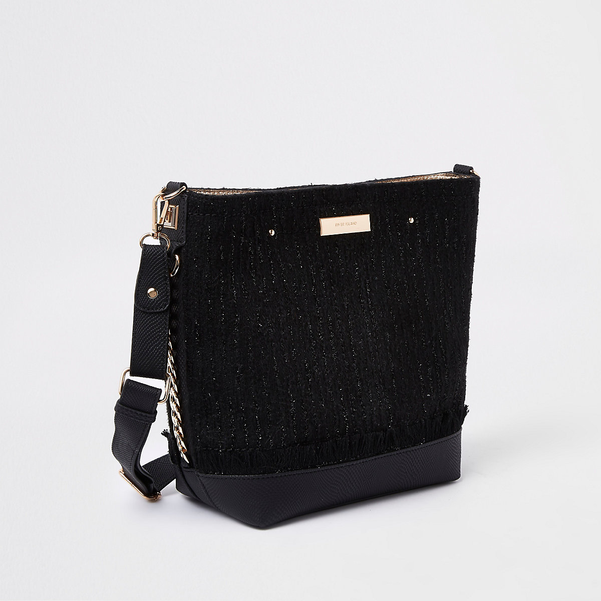 Black pouch bucket bag