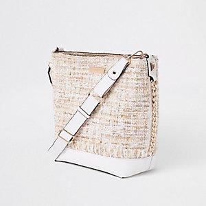 Cream boucle pouch bucket bag