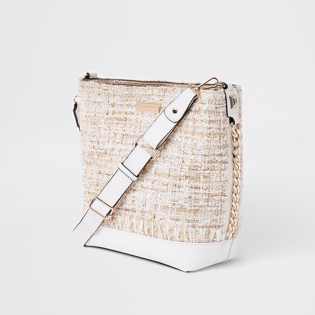 Cream boucle pouch bucket bag