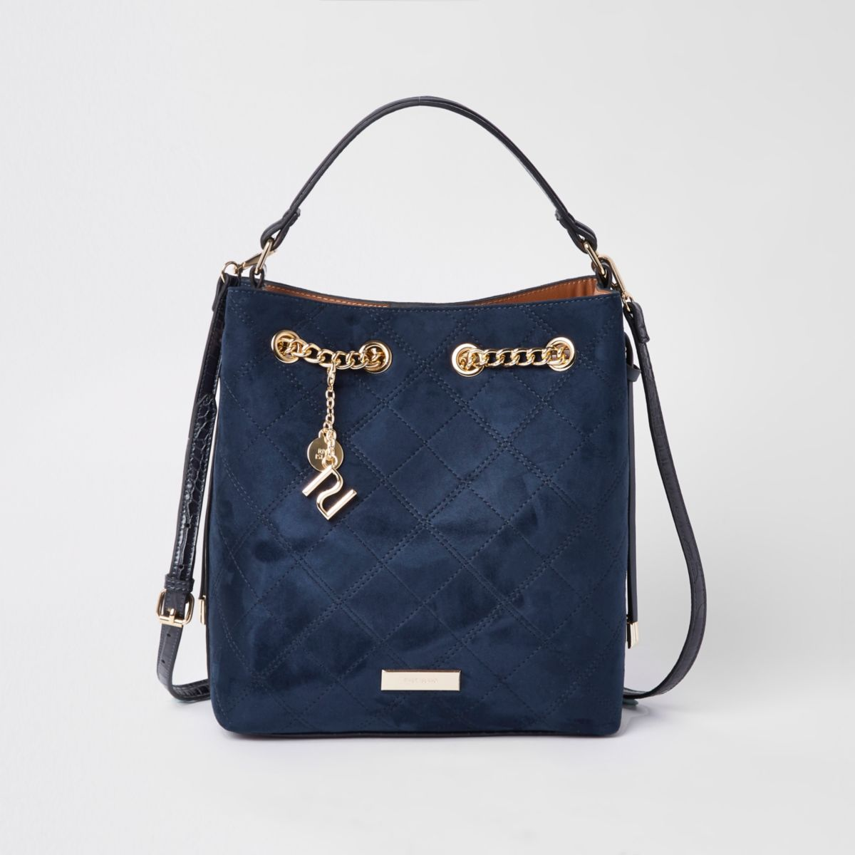 Navy quilted bucket bag