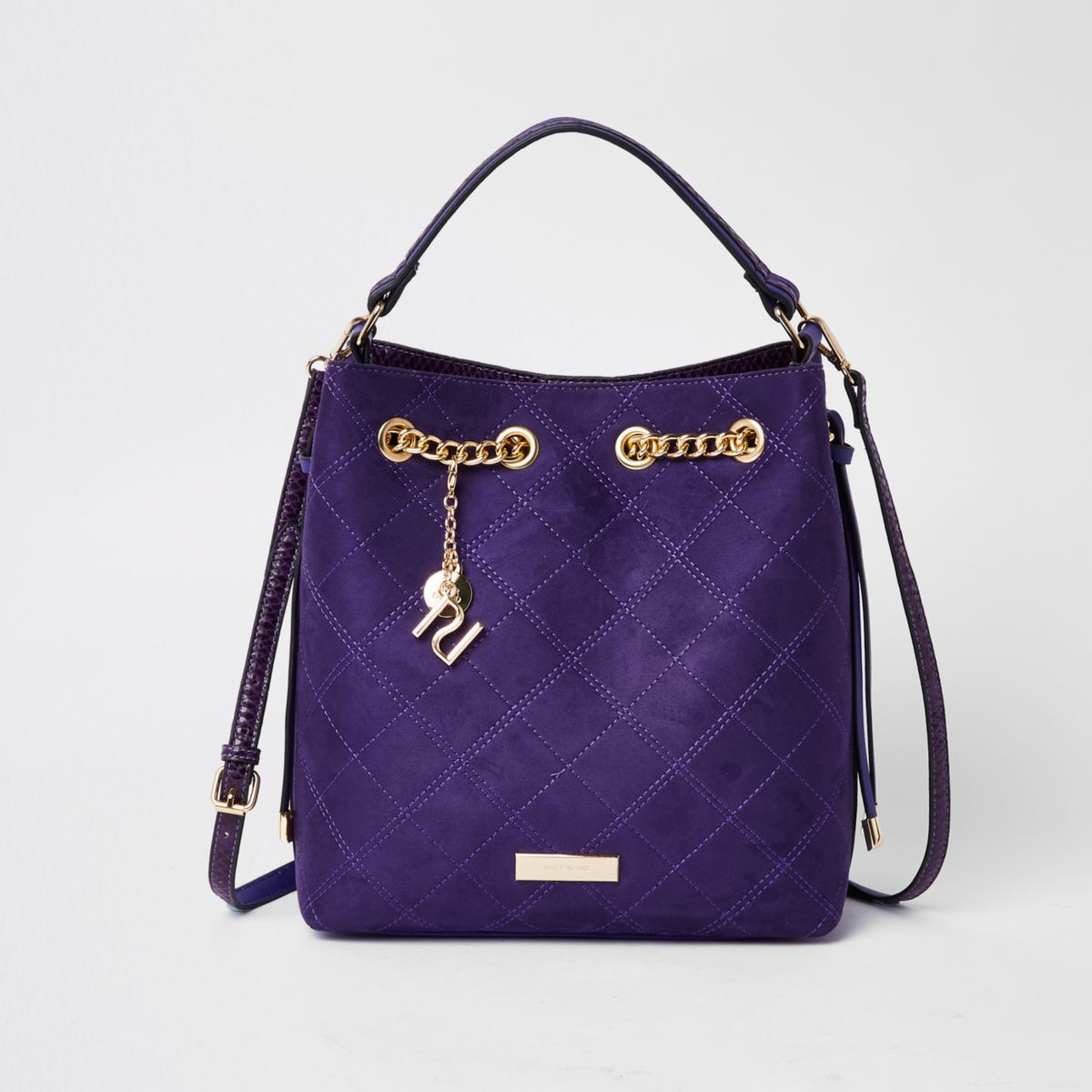 Purple quilted bucket bag