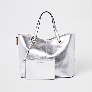 Wendbare Tote Bag in Silber-Metallic