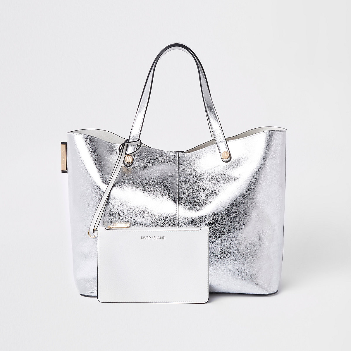 Silver metallic reversible beach tote bag
