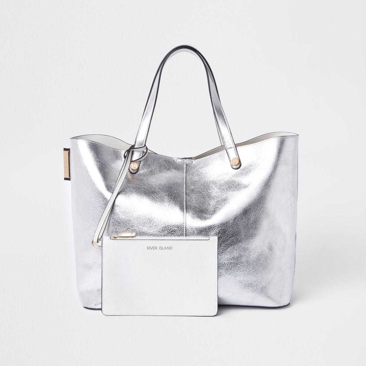 Silver metallic reversible beach tote bag