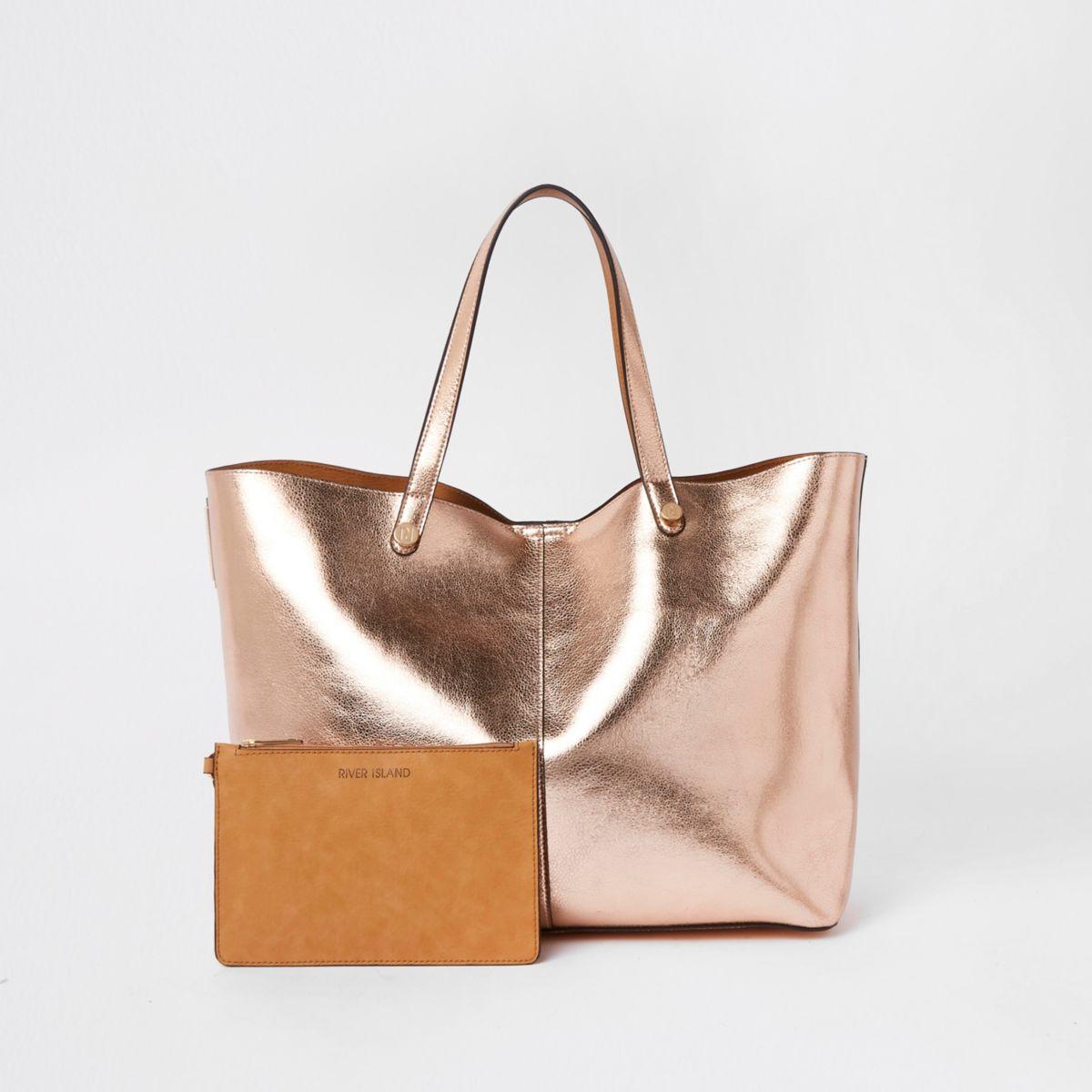 Gold metallic reversible beach tote bag