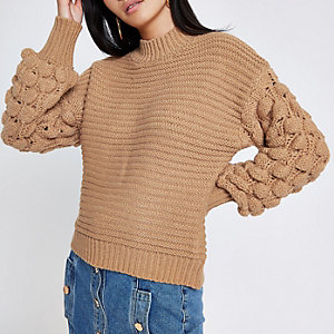 Brown knit bobble sleeve sweater