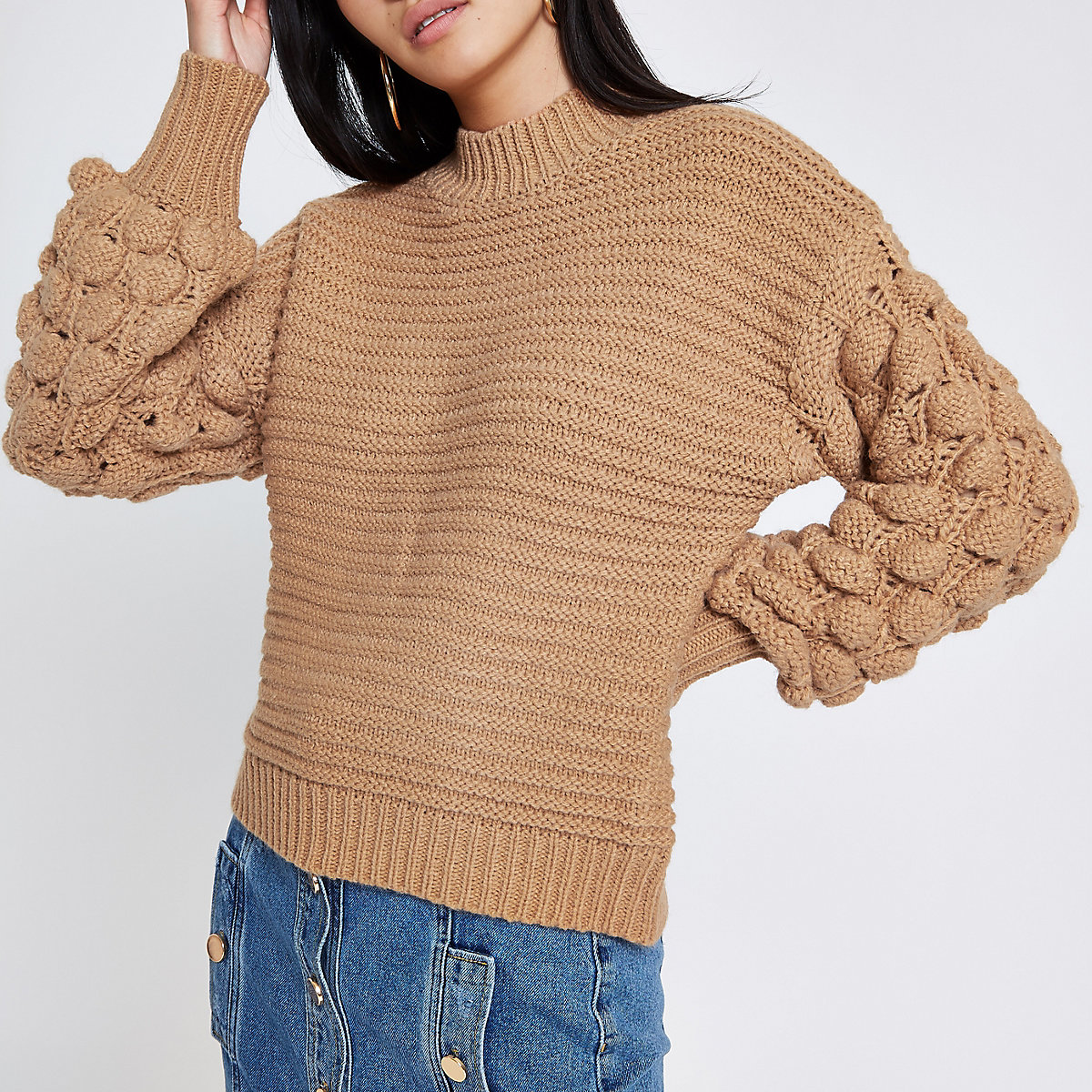 Brown knit bobble sleeve jumper