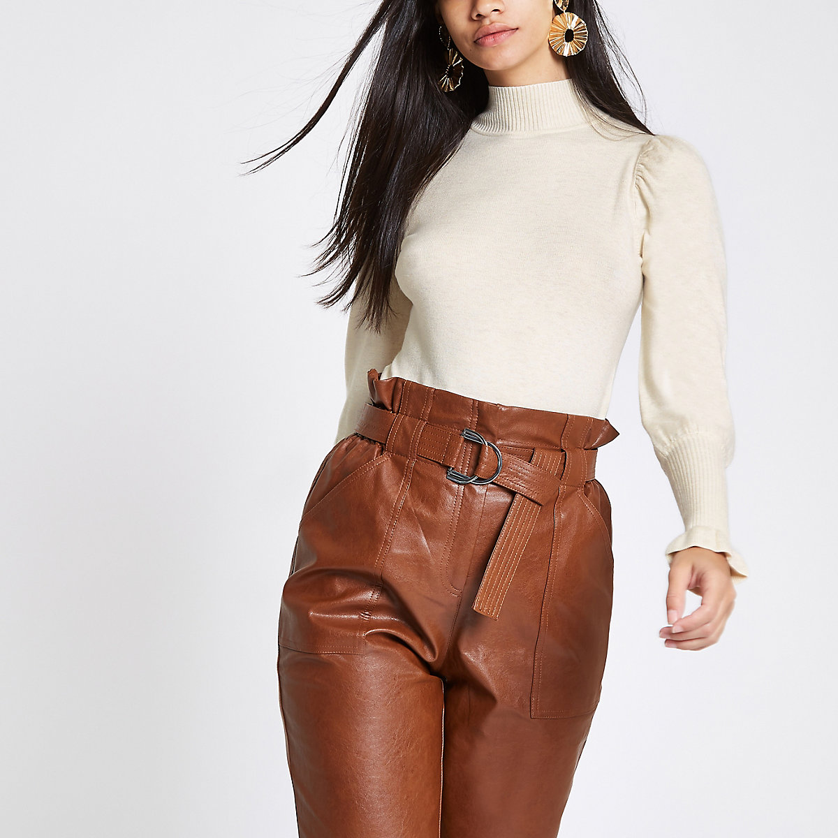 Beige knit frill sleeve turtle neck
