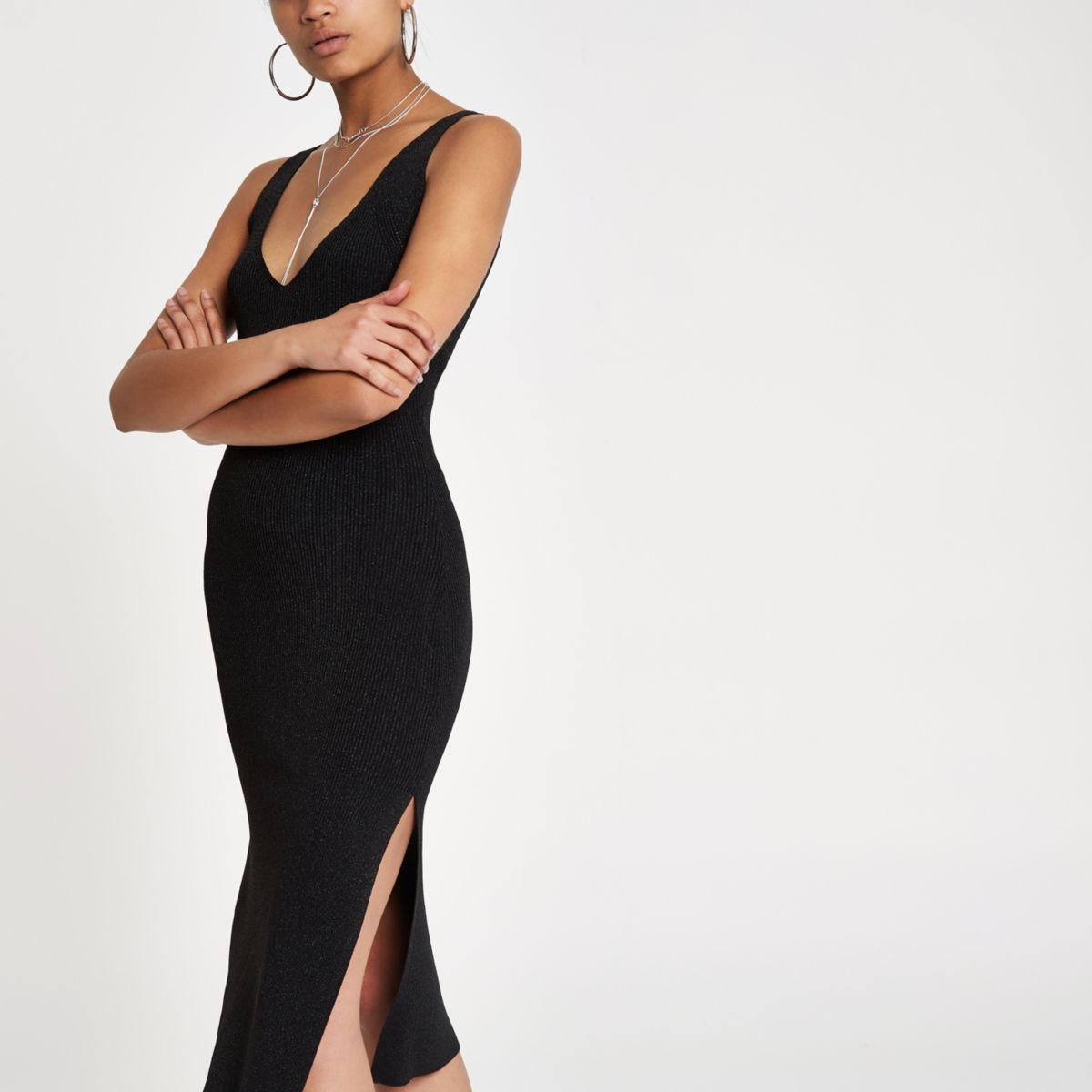 Zwarte metallic gebreide midi-jurk met naden