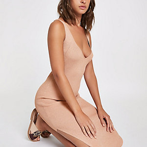 Brown metallic stitch knit midi dress