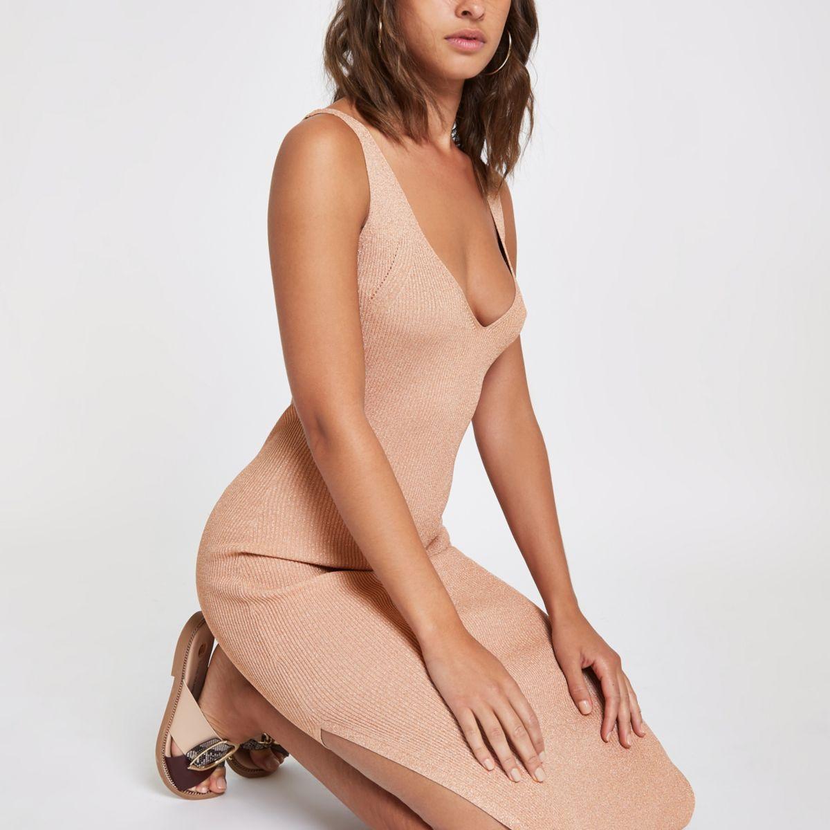 Brown metallic stitch knit midi dress