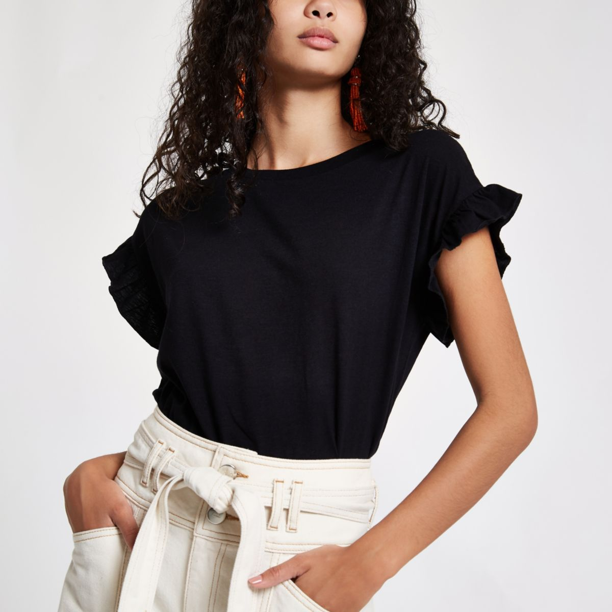 Black frill sleeve T-shirt