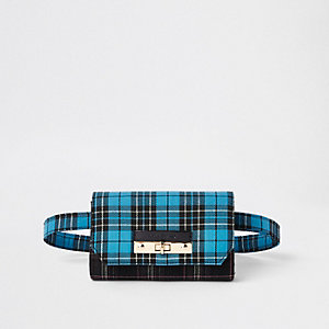 Blue check lock front belt bum bag