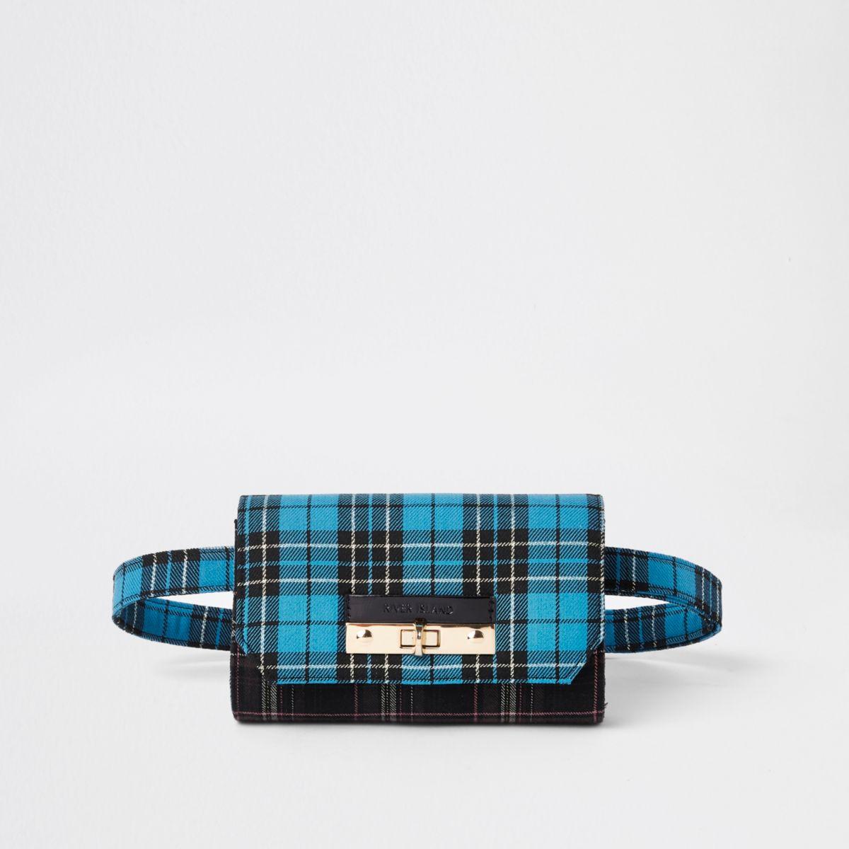 Blue check lock front belt bum bag