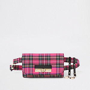 Pink check lock front belt bum bag