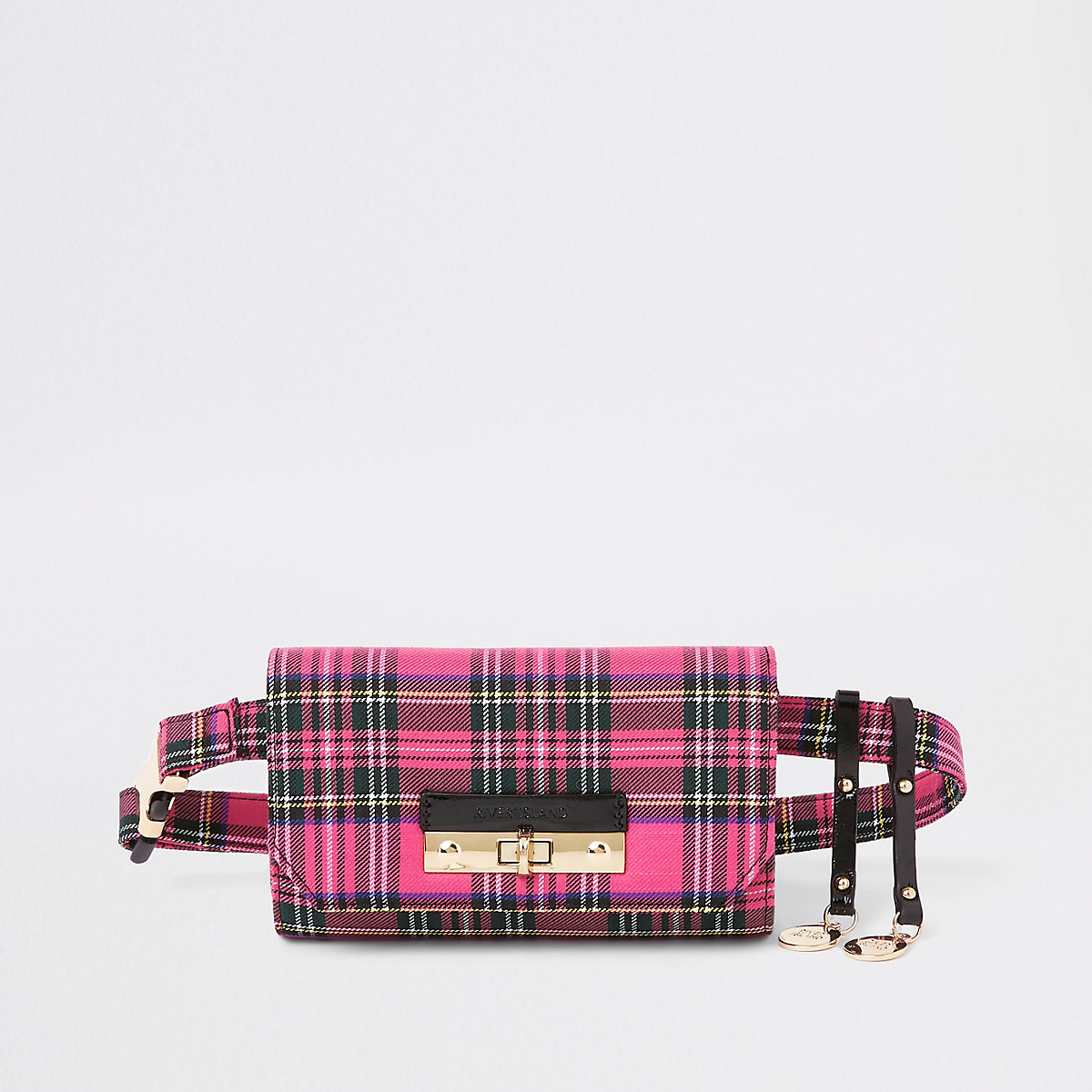 Pink check lock front belted bum bag