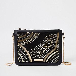 Black stud embellished chain strap clutch bag