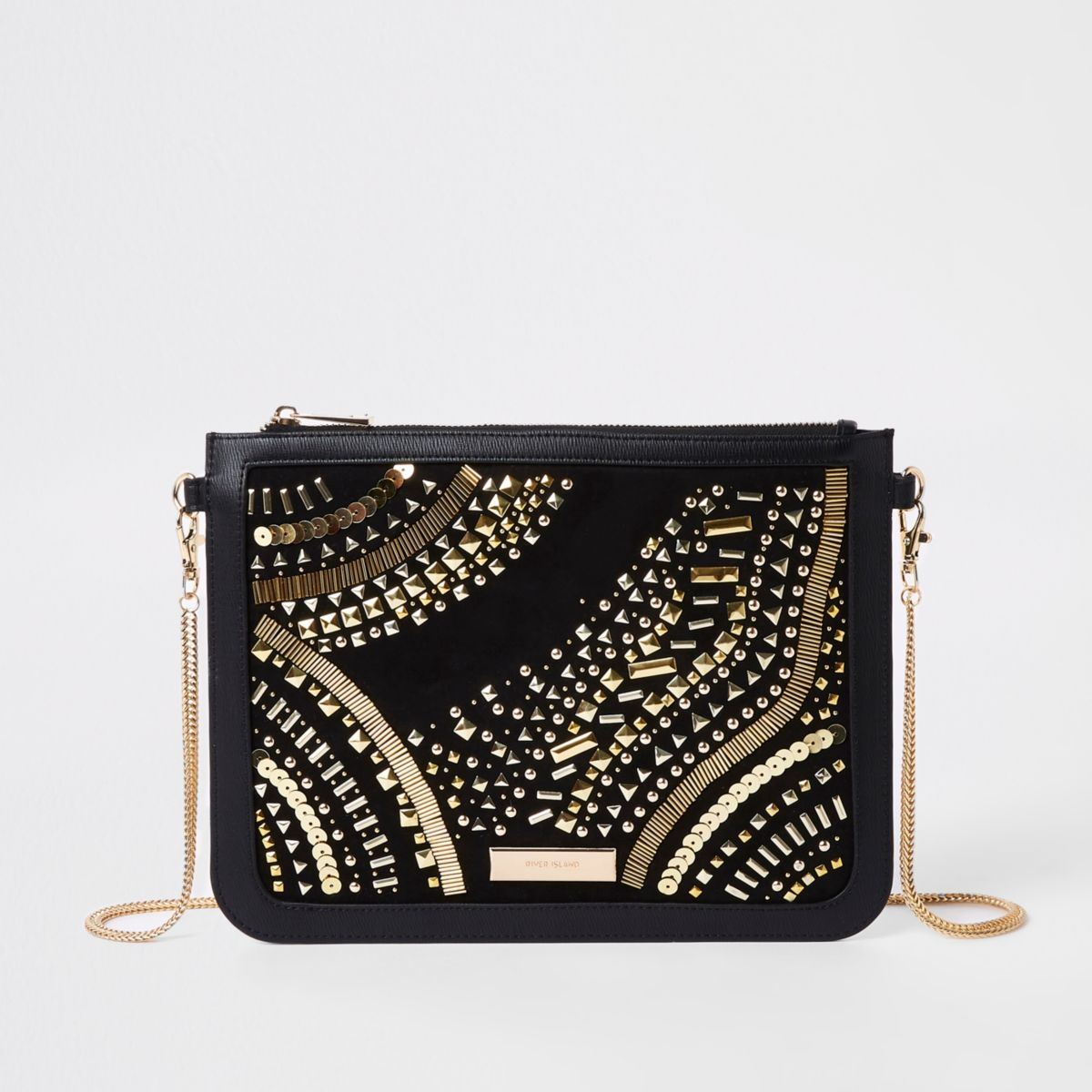 Black stud embellished chain strap clutch bag