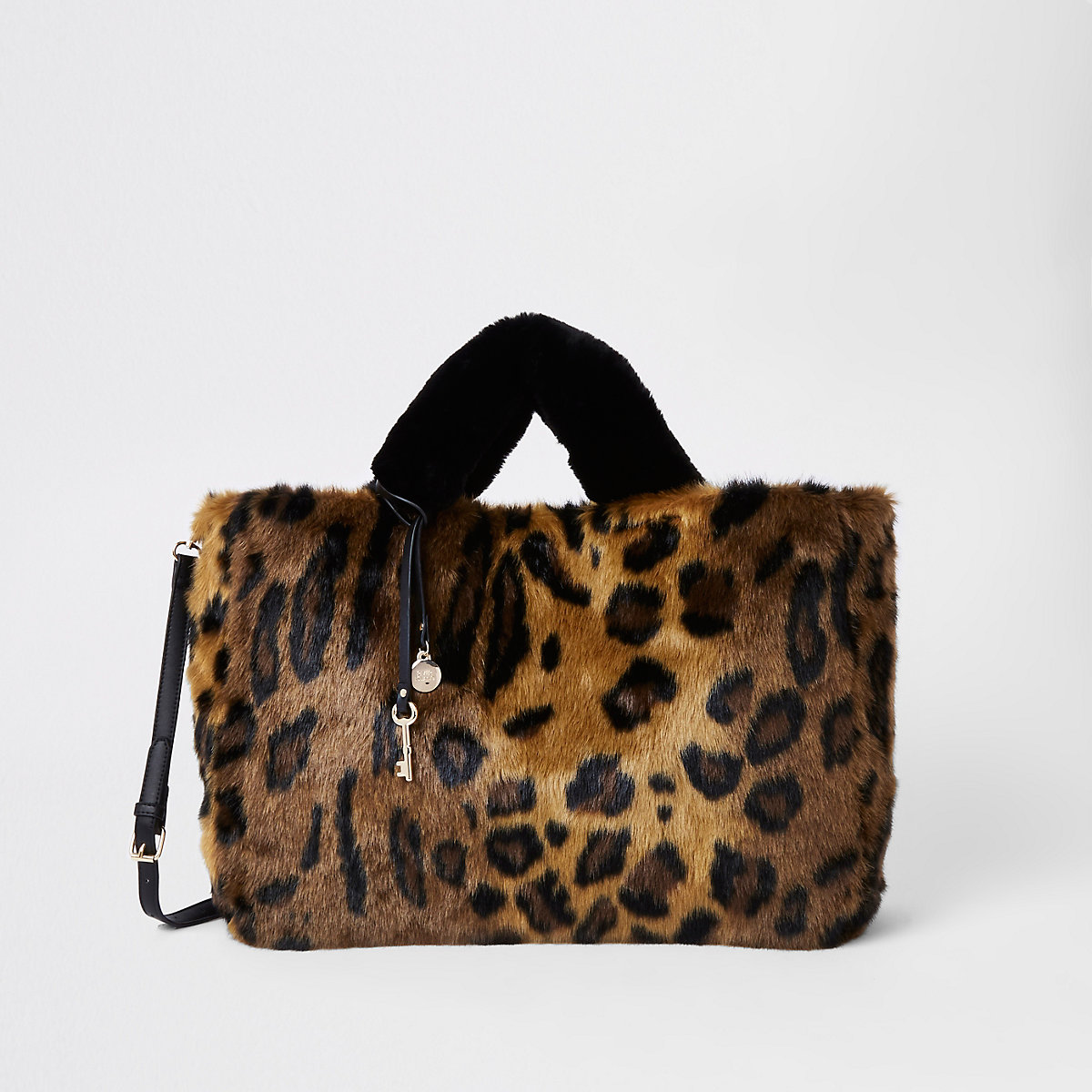 Brown leopard print faux fur shopper bag