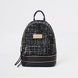 Black boucle mini backpack