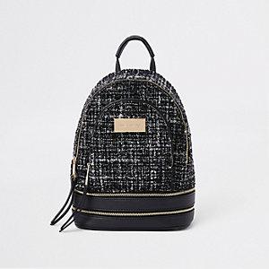 Mini sac à dos en maille bouclée noir