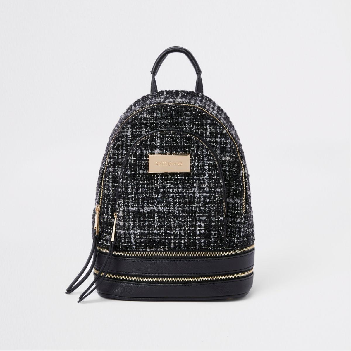 Black boucle mini backpack