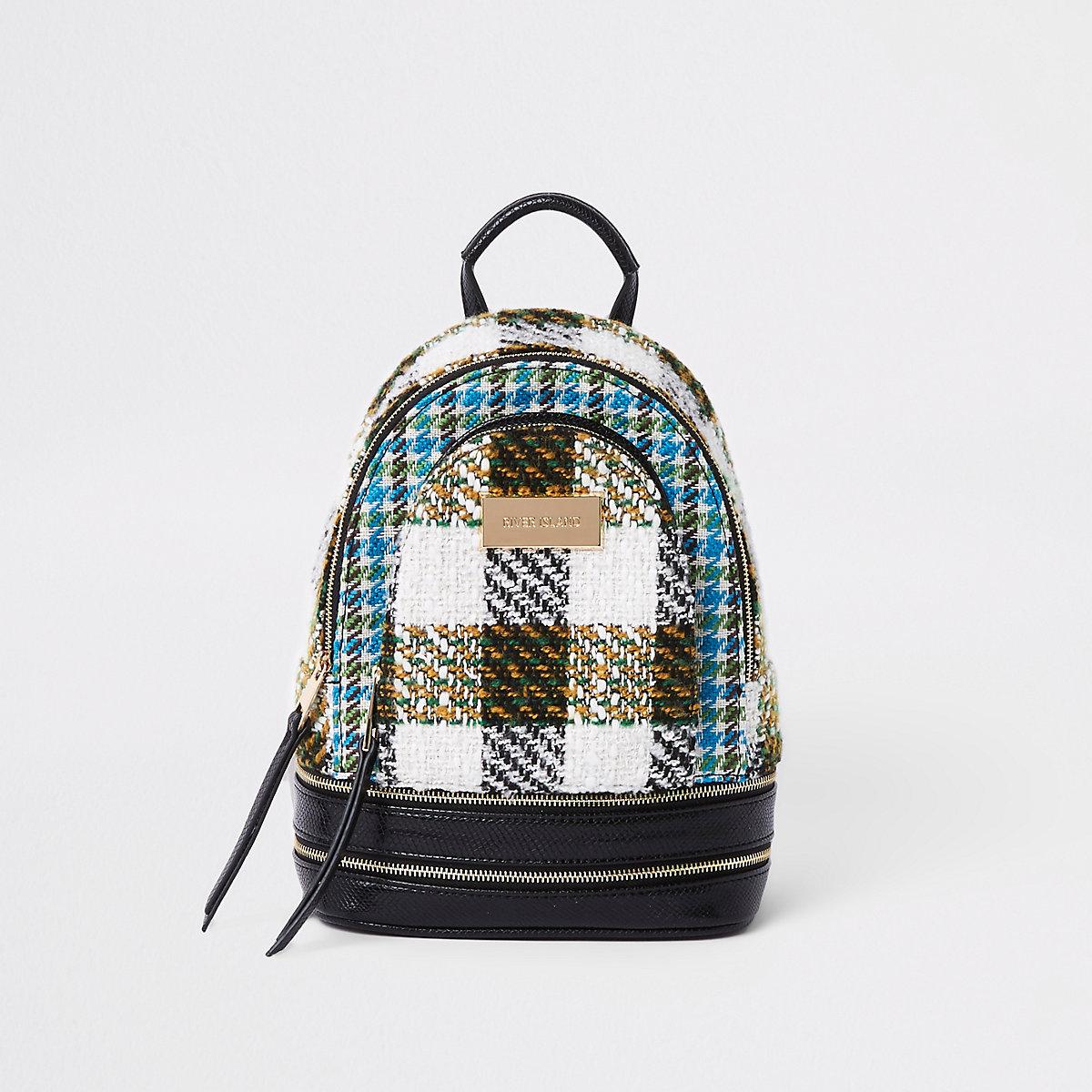 Black mini check backpack
