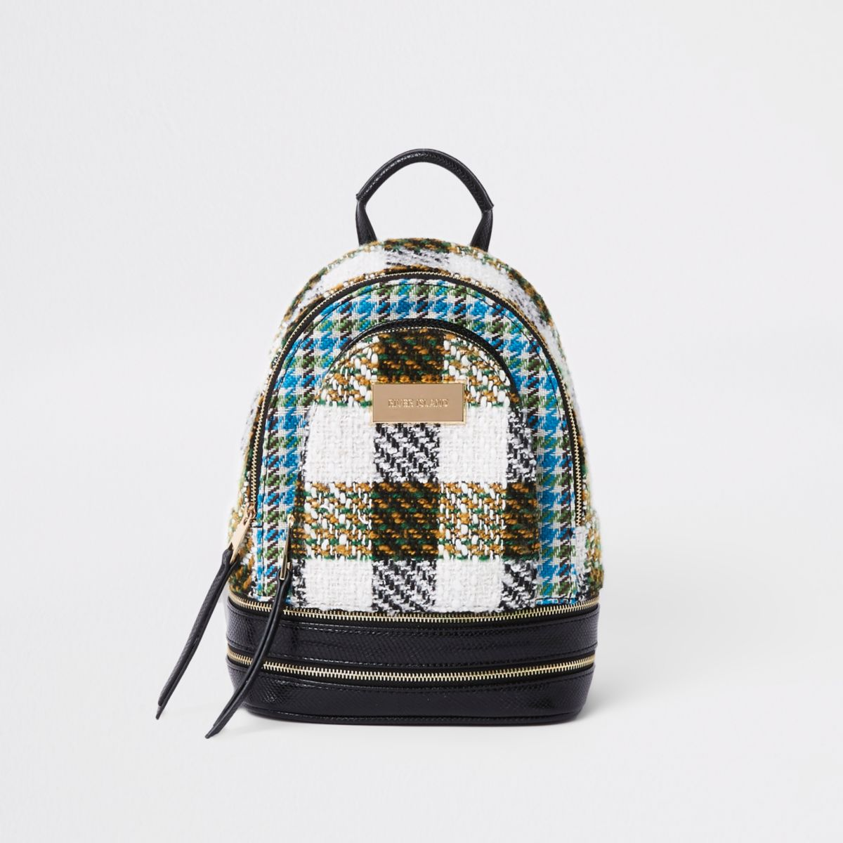 Black mini check backpack