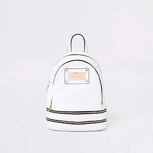 White zip around mini backpack