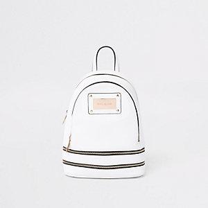 Weißer Mini-Rucksack mit Reißverschluss
